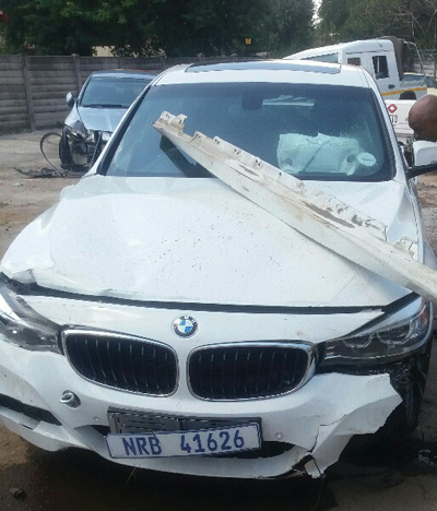 Damaged accident car in South Africa